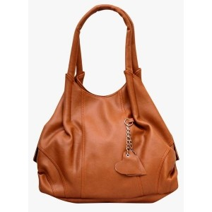 Fostelo Brown Synthetic Solid Shoulder Bag