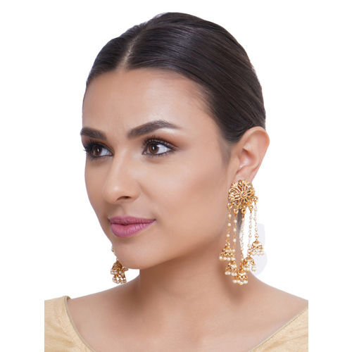 Shining Diva Gold-Plated & White Dome Shaped Jhumkas