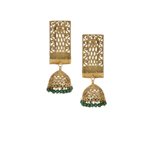 Shining Diva Gold-Toned & Green Dome Shaped Jhumkas
