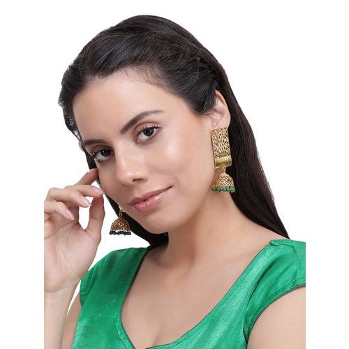 Shining Diva Gold-Toned & Green Dome Shaped Jhumkas