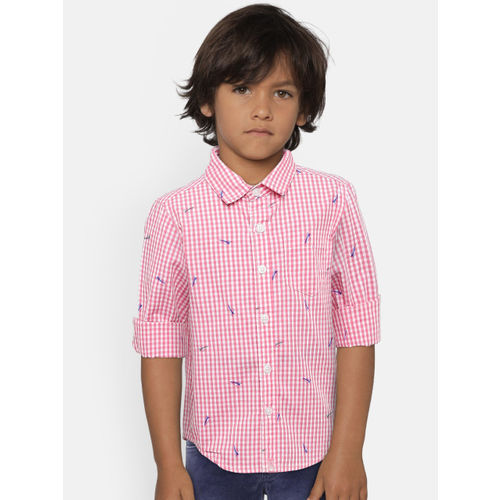 United Colors of Benetton Boys Pink & White Checked Casual Shirt