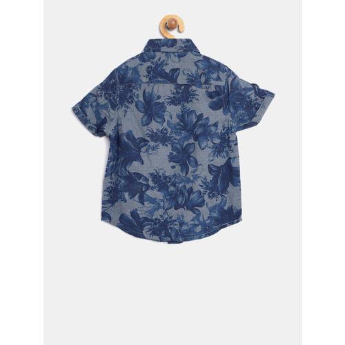 United Colors of Benetton Boys Blue Regular Fit Printed Casual Shirt