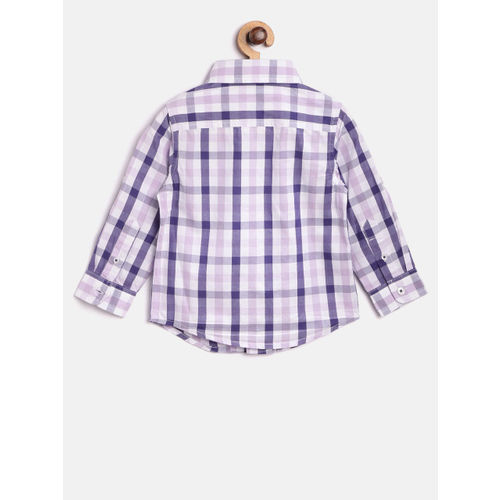 United Colors of Benetton Boys Lavender & Blue Checked Casual Shirt