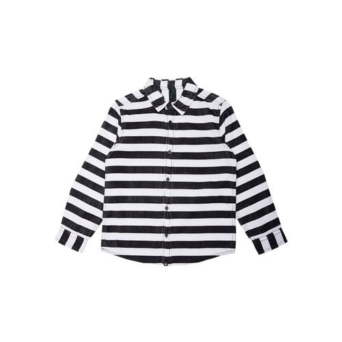 United Colors of Benetton Boys White & Black Regular Fit Striped Casual Shirt