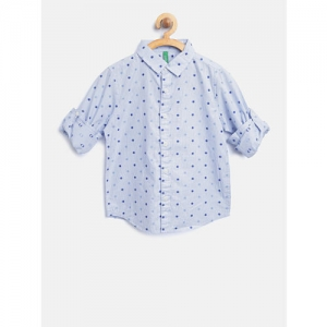 United Colors of Benetton Boys Blue Checked Casual Shirt