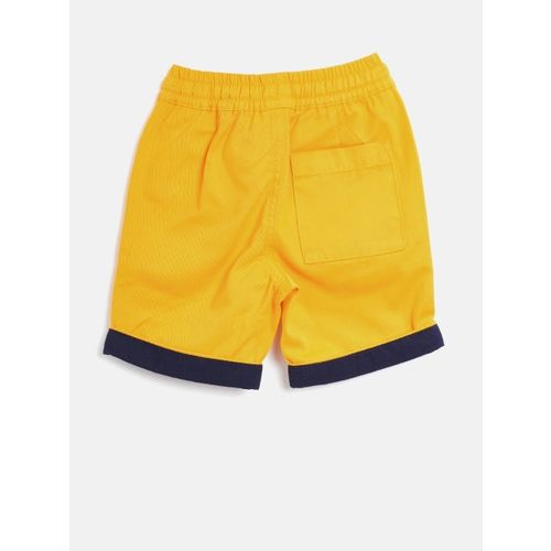 United Colors of Benetton Boys Mustard Yellow Solid Regular Fit Shorts