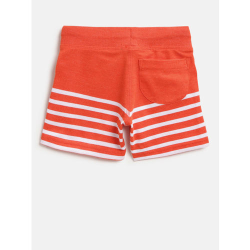 United Colors of Benetton Boys Orange & White Striped Regular Shorts