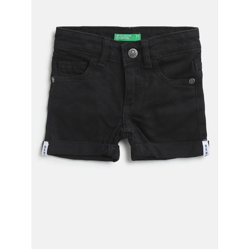 United Colors of Benetton Boys Black Solid Regular Fit Denim Shorts