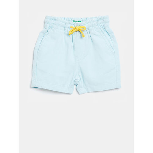 United Colors of Benetton Boys Blue Solid Regular Fit Shorts