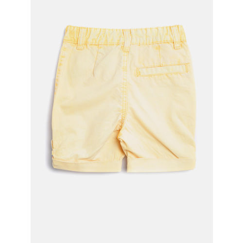 United Colors of Benetton Boys Yellow Washed Regular Fit Shorts