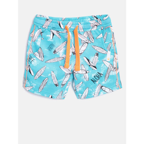 United Colors of Benetton Boys Turquoise Blue Printed Regular Shorts