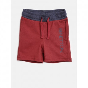 United Colors of Benetton Boys Maroon Solid Shorts