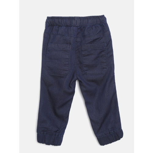 United Colors of Benetton Boys Navy Blue Chambray Regular Fit Solid Joggers