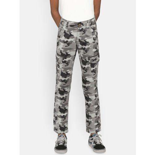 United Colors of Benetton Boys Grey & Black Camouflage Print Cargos