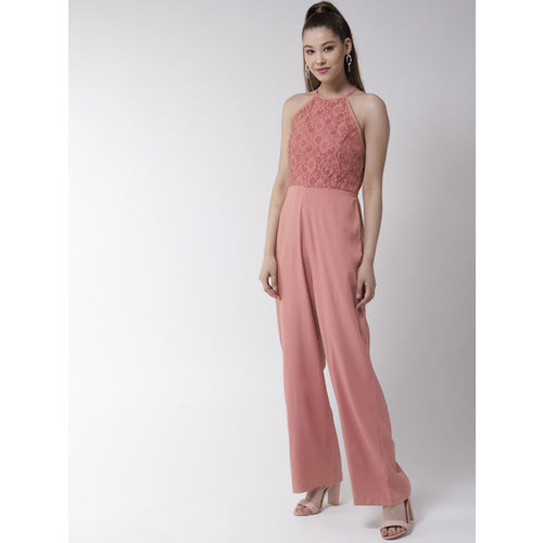 20Dresses Dusty Pink Lace Detail Solid Basic Jumpsuit