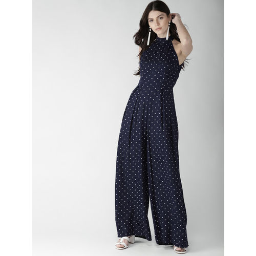 20Dresses Navy Blue & Off-White Printed Basic Jumpsuit