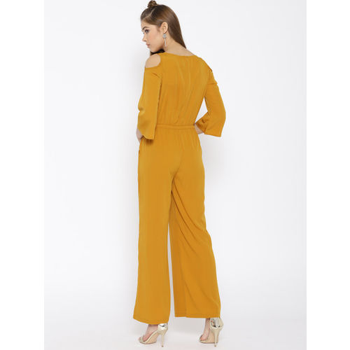 Cottinfab Mustard Yellow Solid Cold-Shoulder Jumpsuit