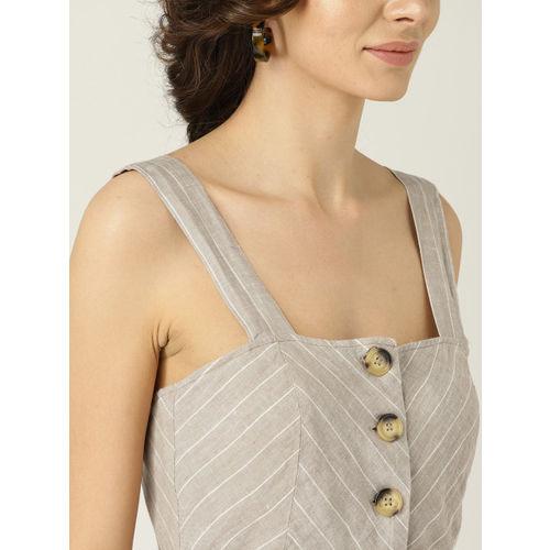 MANGO Grey & White Linen Striped Basic Jumpsuit