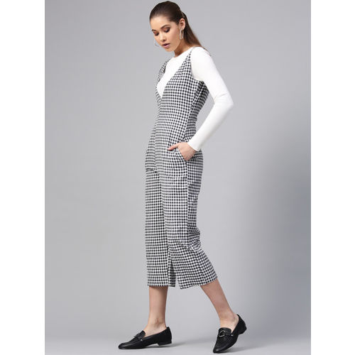 STREET 9 Black & White Checked Culotte Jumpsuit
