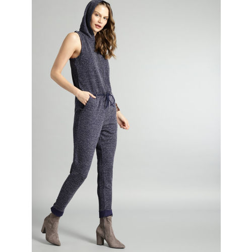 Roadster Navy Self Design Basic Hooded Jumpsuit