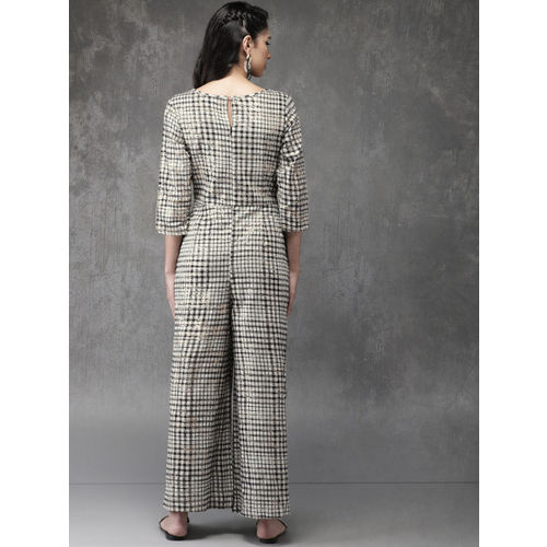 Anouk Off-White & Black Checked Basic Layered Jumpsuit