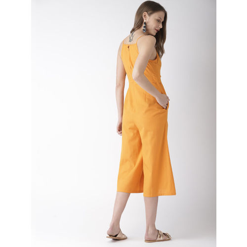 Mast & Harbour Yellow Solid Basic Jumpsuit