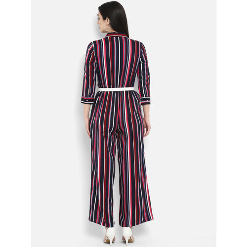 PURYS Navy Blue & Red Striped Basic Jumpsuit