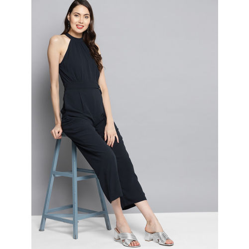 Carlton London Women Navy Blue Solid Basic Jumpsuit