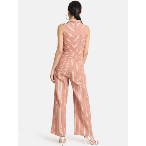 kazo Coral Pink Striped Basic Jumpsuit