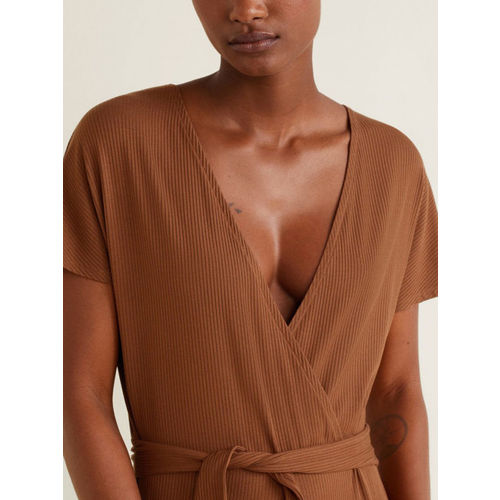 MANGO Brown Solid Basic Jumpsuit