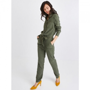 promod Women Olive Green Solid Basic Jumpsuit