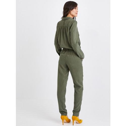 promod Women Olive Green Solid Basic Jumpsuit