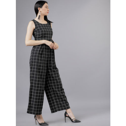 Tokyo Talkies Women Black & White Checked Basic Jumpsuit with Belt