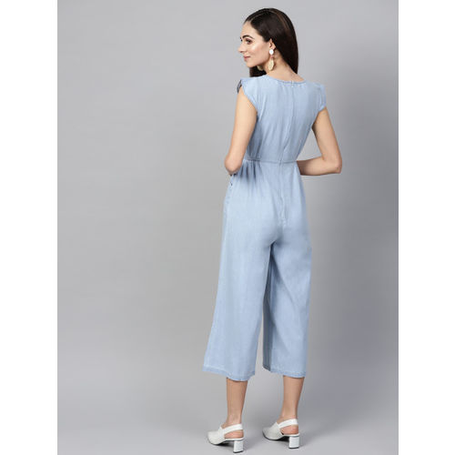 SASSAFRAS Blue Solid Denim Culotte Jumpsuit
