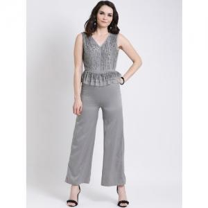 Kazo Grey Self Design Basic Jumpsuit