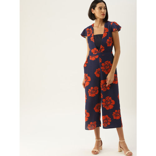 United Colors of Benetton Navy Blue & Red Printed Culotte Jumpsuit With Inner Camisole