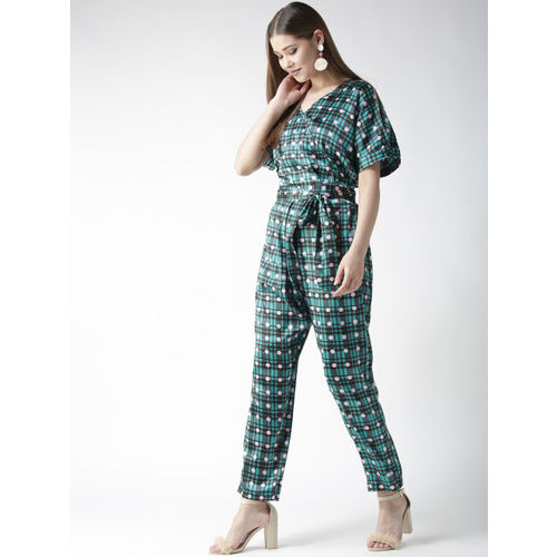 StyleStone Green & Black Checked Basic Jumpsuit with Printed Detail