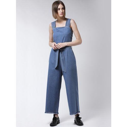 MAGRE Women Blue Solid Denim Basic Jumpsuit