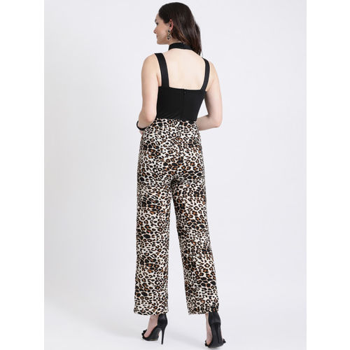 Kazo Black & Beige Printed Basic Jumpsuit