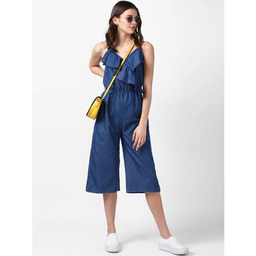StyleStone Blue Solid Capri Jumpsuit