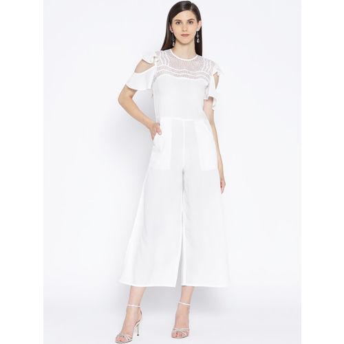 Karmic Vision Women White Solid Cold Shoulder Basic Cropped Jumpsuits