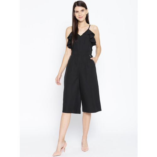 Karmic Vision Women Black Solid Culotte Jumpsuit