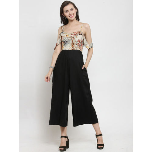 Just Wow Black Printed Basic Jumpsuit