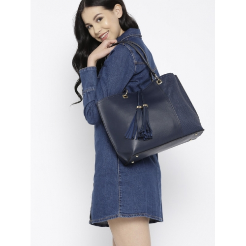 DressBerry Navy Blue Polyurethane Textured Shoulder Bag