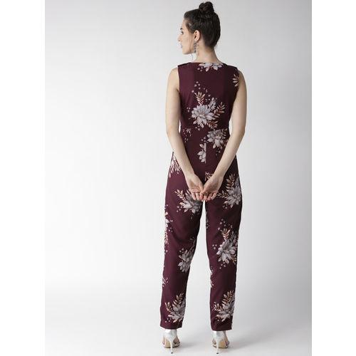 QUIERO Women Burgundy & White Printed Basic Jumpsuit