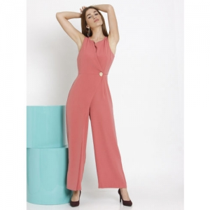 Vero Moda Coral Pink Solid Basic Jumpsuit