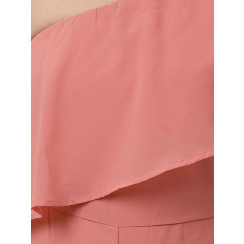 STREET 9 Coral Pink Layered One-Shoulder Basic Jumpsuit
