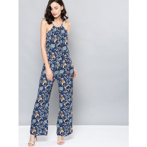 NUSH Blue Printed Jumpsuit