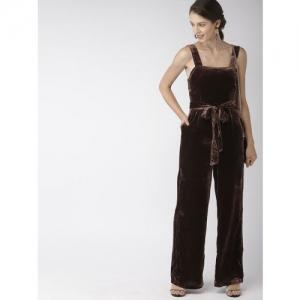 FOREVER 21 Brown Solid Basic Velvet Jumpsuit