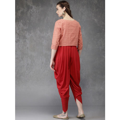 Anouk Red Coloured Embroidered Ethnic Jumpsuit with Peach Coloured Printed Shrug